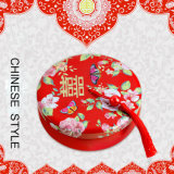 Creative and Personality Chinese Style Red Wedding Favor Box, Round Tin Gift Box with Pretty Tassels