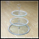 3 Tier Tempered Cake Glass Plates with Curved Edge