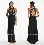 China Evening Dresses Halter Jersey Dress with Open Back