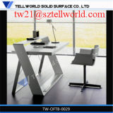 Global Modern White Corain Wood Effect Small Artificial Stone Office Desk with Chairs