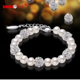 Fashionable Cultured Freshwater Pearl with Crystals Bracelet