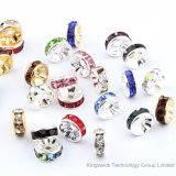Silver Plated Round Rondelle Crystal Rhinestone Spacer Beads for Jewellery DIY Making