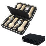 8 Slots Zippered Traveler Black Watch Box Packaging Case Organizer