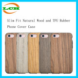 Slim Fit Natural Wood and TPU Rubber Coating Mobile Phone Cover Case for iPhone 6/6s/7