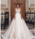 2018 Bridal Prom Dresses Sheer Bodice Lace Wedding Gowns Ld1165