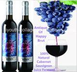 Top Wine, EU Natural Cabernet Sauvignon Wine/Antique of Happy Brut, 100%Juice Brewing, Rich Anthocyanin, Amino Acids, Anticancer, Prevention of Ischemic Stroke