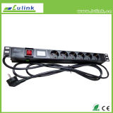 Germany Type Customized 19 Inch 6 Way PDU with Control Socket