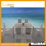 Realable Quality Garden Aluminum Outdoor Dining Furniture Plastic Wood Chair Table Set