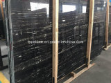 Chinese Silver Dragon Black Marble Slab