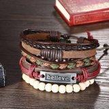 Fashion Adjustable Handmade Braided ′′believe′′ Leather Rope Bracelet