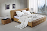 Customized Home Bedroom Wooden Leather Bed (HC1310)