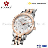 Jewelry Stainless Steel Case 3ATM Lady Watch with Gold Plating