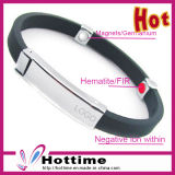 Customized Negative Ion Silicone Bracelet with Stainless Steel Meatl (CP-GJ-SH-017)