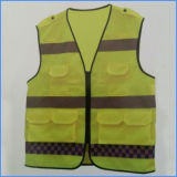 Hi-Vis String Reflective Safety Work Vest with Pockets