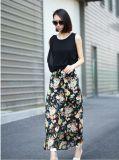 2015 Wholesale Flower Printed Women Long Chiffon Skirt