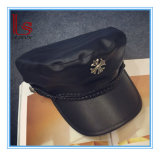 Wholesale Fashion Accessories Black Cross and Chain Hat Leather Peaked Cap with Brim