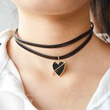 New Trend Double Leather Chain Choker Necklace with Enamel Epoxy Gold Color an Arrow Through a Heart Pendant