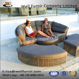 Well Furnir T-011 Garden Round Artisanal 7 Seater Rattan Sofa Day Bed