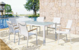 Modern Urban Furniture Outdoor Garden Patio Dining Set with 6 Pieces White Sling Mesh Chair and Glass Table