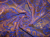 Golden Silver Polyester Knit with Flocking+Sequin Fabric