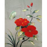 Canvas Painting of Butterfly and Red Flower (LH-183000)