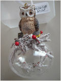 Hot Sales Clear Christmas Glass Ball with Resin Owl