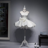 Lovely White Brocade Lace Short Ball Gown Strapless Evening Party Dress