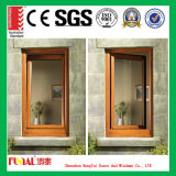Wooden Color Aluminum Frame Tempered Safety Glass Casement Window