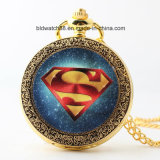 Promotion Gift Watch Gold Pocket Watch with Chain (super man)