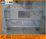 Folding Galvanized Metal Wire Mesh Storage Cage with Wooden Pallet
