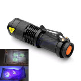 Jade Money Detector 395nm 365nm Mini Aluminum Zoomable Portable UV Flashlight Purple Violet Flashlights for AA/14500 Battery
