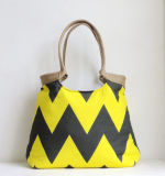 Neon Yellow and Grey Chevron Hand Bag with Burlap (BDMC114)