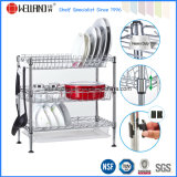 DIY Chrome Plated Steel Wire Kitchen Corner Dish Drying Rack