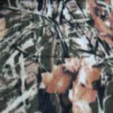 Leaf Print Polar Fleece with Two Sides Brushed One Side Antipilling