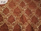 2017 Red Brown 100% Polyester Chenille Jacquard Sofa Fabric