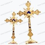 Antique / Retro Blue Copper Church / Home Decoration Catholic Cross, Religious Metal Standing Crucifix