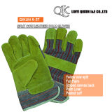 K-37 Grey Split Cow Full Palm Liner Pasted Cuff Canvas Back Leather Working Safety Gloves