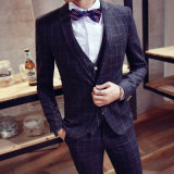 Made to Measure Men′s Slim Fit Black Woolen Suit