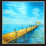Home Decor Blue Sea Beautiful Bridge Scenery Painting on Canvas (LH-023000)