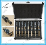 "8PC HSS Cobalt Silver & Deming Drill Bits Set, Large Size 9/16"" to 1"""