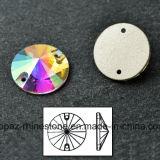 Swaro Rhinestone Shiny Sew on Glass Stone Rivoli Rhinestone (SW-Rivoli 12mm crystal ab)