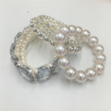 Wholesale White Beads Bracelet with Glass Stone on The Elastic