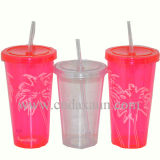 Promotional BPA Free Plastic Cup with Straw Dn-137A