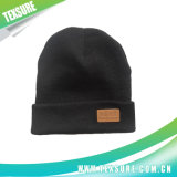 Acrylic Cuffed Beanie Winter Hats with Patchwork Logo (058)