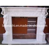 Natural Stone White Marble Carved Fireplace Mantel Surround for Sale