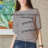 Women′s Fashion Stripe Custom Design T-Shirt with Navy Style