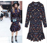Spring Summer New Style Printing Loose Chiffon Long Sleeves Middle Lady′s Dress