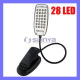 Desk Style Metal Snake Flexible Soft Tube Highlight Clip 28 LED Light Booklight