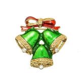 Gold-Tone Christmas Jingle Bell with Rhinestone Custom Fashion Brooches