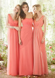 Pink Long Bridesmaid Dress Chiffion Sister Dresses for Wedding
